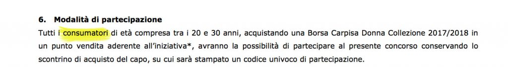 Screenshot del bando di concorso Carpisa
