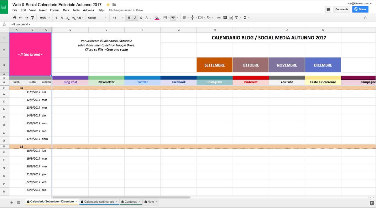 Esempio Calendario Affidamento Condiviso.Il Calendario Editoriale Dell Autunno Kikaweb