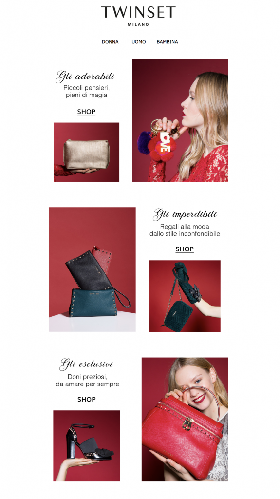 Esempio newsletter Natale Twin Set