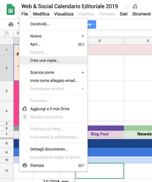 menu file crea copia google drive calendario